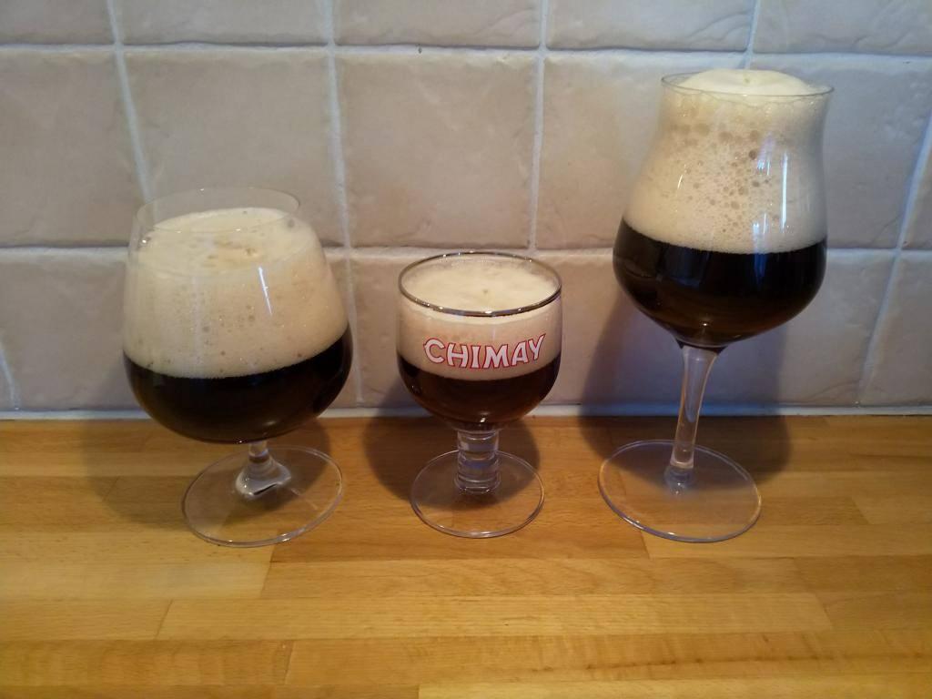 Tre olika glas Belgisk Ale