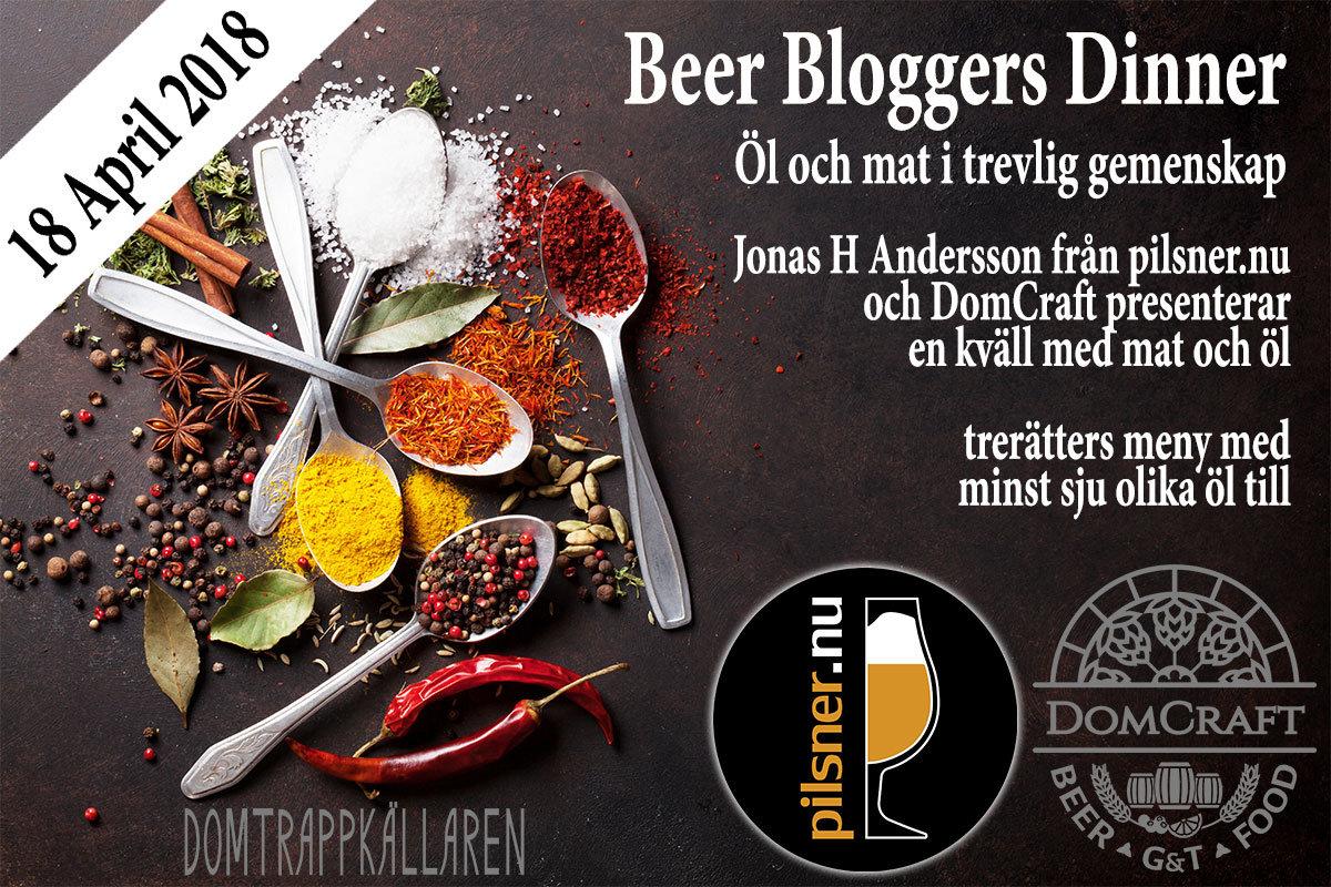 beer bloggers dinner 18 april 2018 Domtrappkällaren DomCraft Pilsner.nu